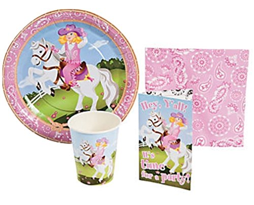 Pink Cowgirl Horse Party Supply Pack & Invites for 8 Guests - Includes 16 luncheon napkins, and 8 each of: invitations with envelopes, 9 party plates and 3 1/2 9 oz. cups. (Cups Napkins Invites Plates)
