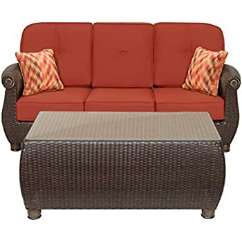 La Z Boy Outdoor Breckenridge Resin Wicker Patio Furniture Sofa With Pillows And Coffee Table Set Brick Red With All Weather Sunbrella Cushions