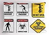 Ambesonne Zombie Decor Pillow Sham, Warning Signs for Evil Creatures Paranormal Construction Do Not Open Artwork, Decorative Standard King Size Printed Pillowcase, 36 X 20 Inches, Multicolor