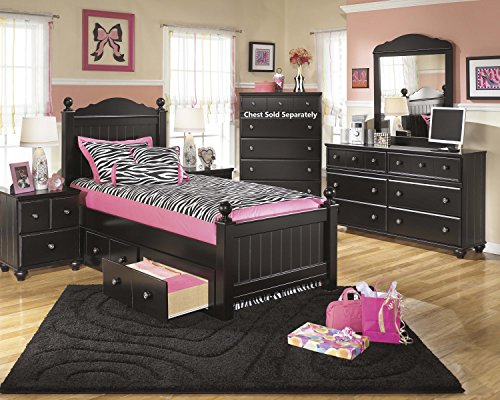 Jaidyn Youth Wood Poster Storage Bed Room Set in Rich Black Finish, Twin Bed, Dresser, Mirror, Nightstand by FurnitureMaxx