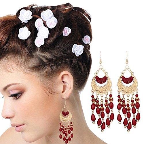 Sujing Women Boho Earrings Crescent Earrings Jewelry Vintage Ear Drop Bead Tassel Earrings for Women Girl (red) (White Gold Cz Leverback Earrings)