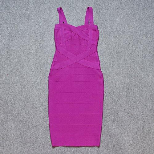 Spaghetti Bandage Midi HLBandage Dress Women's Strap Fucsia w5SS08qx