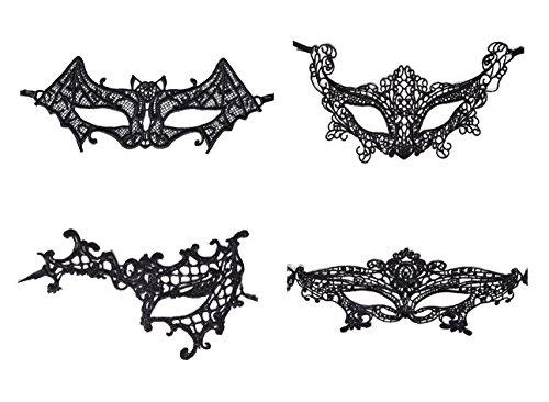 QBSM Halloween 4 Pcs Sexy Lace Mask Masquerade