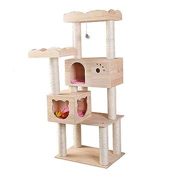 DJLOOKK Árbol rascador para Gatos Cat de Escalada de Madera, Multifuncional, Resistente al Desgaste