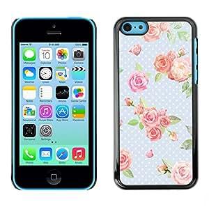 [Neutron-Star] Snap-on Series Teléfono Carcasa Funda Case Caso para iPhone 5C [Dot Rosa Bebé Azul Verde Retro]