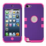 iPod Touch 5 Case, MagicMobile [Armor Shell Series] Double Layer Cover [Hard Shield] + [Flexible Silicone] Hybrid Case for Apple iPod 5th Generation [Impact Shock Resistant] / [ Purple - Hot Pink ]