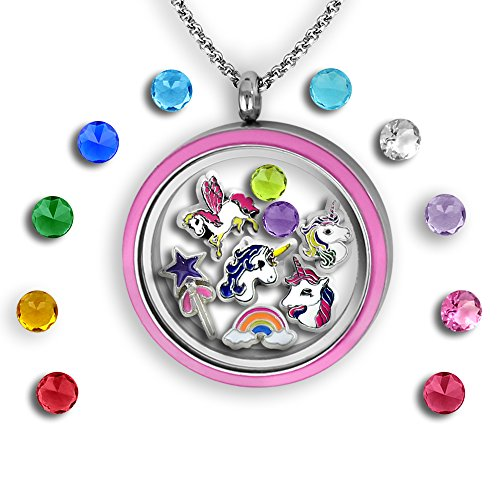 Magical Unicorn Jewelry Floating Charm Locket Sparkly Unicorn Gift for Girls with Mini Unicorn Charms | Stainless Steel 30mm Authentic Floating Charm Locket | Memory Locket Complete with Charms