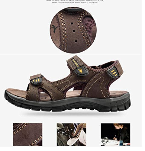 Antiscivolo Brown Summer Trend Beach Outdoor Pelle da Outdoor in Casual Sandals Uomo New Shoes Sandali Scarpe 2018 Scarpe I7TSIx