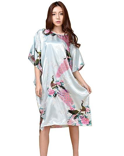 Damas Casual Vintage Retro Estampado Floral para Mujer Dormir Erótica para Mujer Sexy Batas Kimonos de Satén Lightblue OneSize: Amazon.es: Ropa y accesorios