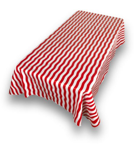 The Pecan Man Tablecloth Rectangle Red and White Stripe Flannel back Vinyl Tablecloths 54