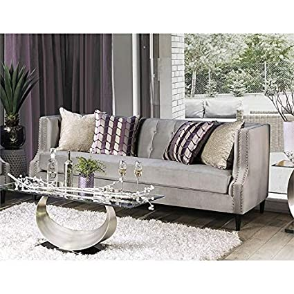 Amazon.com: Furniture of America Leona Transitional Sofa in ...