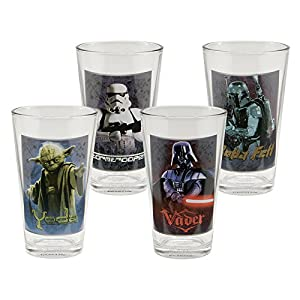 Vandor Star Wars 4 pc 16 oz Glass Set, Multicolor