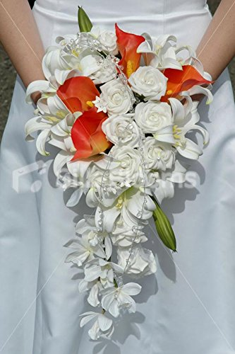 Amazon Com Silk Blooms Ltd Amazing Orange And White Cascading