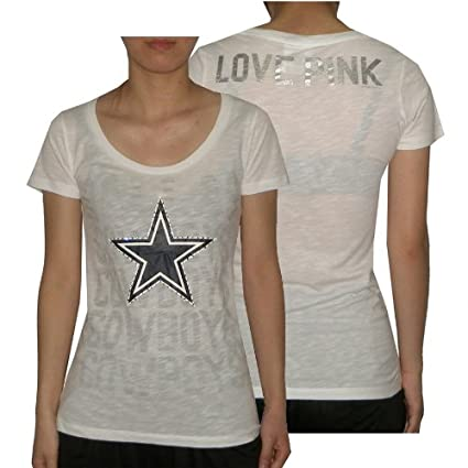 d4c8748a ... denmark womens nfl dallas cowboys t shirt tee with rhinestones by pink  victorias secret xs white