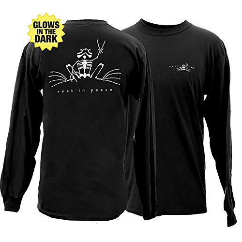 Peace Frogs Rest in Peace Glow Frog Adult Long Sleeve T-Shirt (Black, X-Large) -