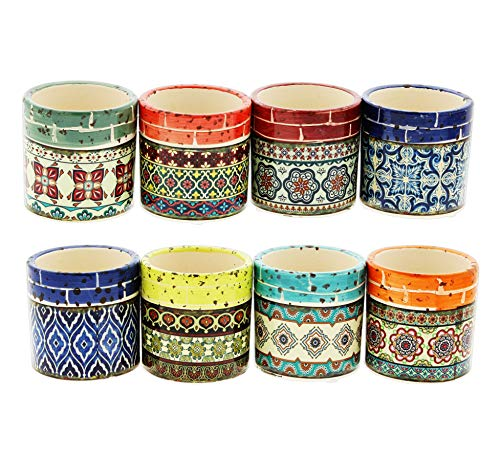 Lucky Winner Set of 8 Assorted Ceramic Planters Mediterranean Motif 3