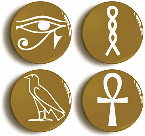 Egyptian Hieroglyph Button Pin Set (Size is 1inch Diameter) Ancient Egypt]()