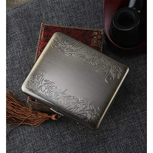 (EEKUY Metal Matte Cigarette Case, Pressure-Proof and Moisture-Proof Can Hold 20 Cigarettes, C)