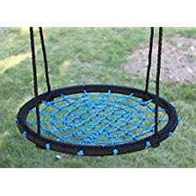 """Movement God Spider Web Tree Swing with Adjustable Hanging Ropes - 24"""" Diameter Kids Indoor/Outdoor Round Net Swing - Great for Tree, Swing Set, Backyard, Playground, Playroom (Blue)"""