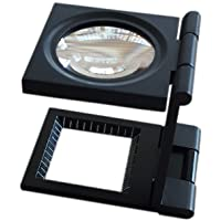 Lupa Bolsillo 10X 28mm Tela Escala de la medida Cuentahilos Metal (negro) Plegable en Tres Partes Lupa