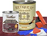Retique It Liquid Wood - Gallon Light Wood w/Black Cherry Stain - Stainable Wood Fiber Paint - Put a fresh coat of wood on it (128oz LW, Black Cherry)