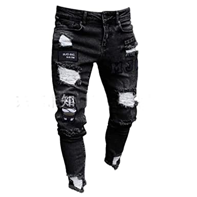 Skinny Styles Biker 3 Jeans Pour Rétro Hommes Stretchy Ripped f7gYb6yv