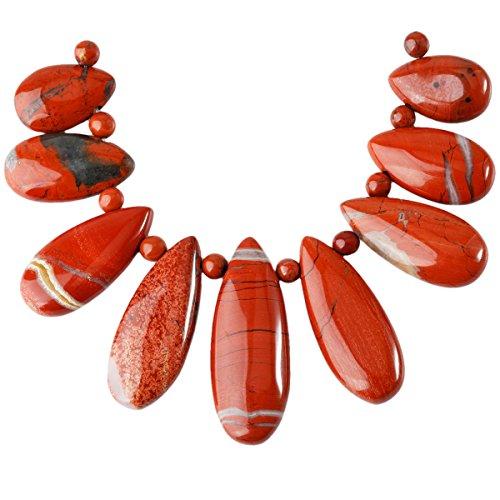 (SUNYIK Red Japer Loose Bead for Jewelry Making,Teardrop Shields Stone,9Pcs/Set)