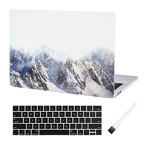 MacBook Pro 13 Case Laptop Plastic Cover Protective Sleeve 2018 2017 2016 Release A1989/A1706/A1708 Case Laptop Plastic Hard Shell Case & MacBook Pro 13 Inch Silicone Keyboard Cover (Snow Mountain)