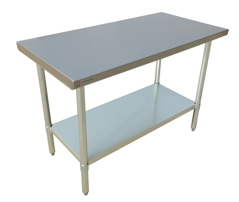 EQ Kitchen Line Stainless Steel Commercial Work Preperation Table, 30'' L x 24'' W x 34'' H