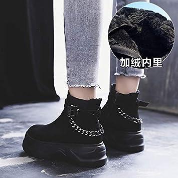 Shukun Botines Botas Martin con Suela Gruesa, Zapatos de Mujer Negro Salvaje, Botas Cortas, Botas de Primavera y otoño, Individuales.