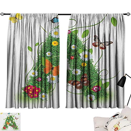 """Aurauiora Grey Curtains Letter A,First Letter of The Alphabet Natural Construction Green Leaves Butterflies, Green Multicolor 54""""x84"""",with Grid Composition Decorative Curtains for Living Room"""