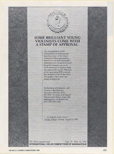 1990 International Violin Competition Indianapolis Booking Print Ad (Memorabilia) (58668)