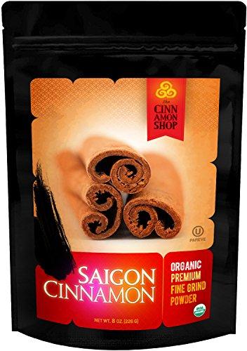 Cinnamon Organic Saigon - Fine Powder - Naturally Sweet Flavor - Perfect for Cinnamon Rolls, Apple Pie, Baking, Smoothies - Unprocessed & Hand Harvested - 100% Satisfaction (Apple Cinnamon Rolls)