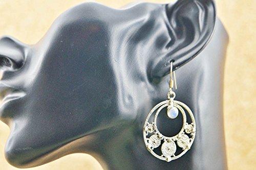 Boucles d'oreilles liaton avec pierre de lune 29 mm x 48 mm