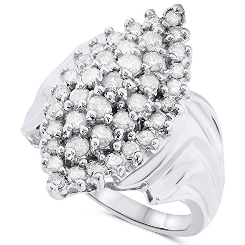 1 Carat 14k White Gold Diamond Marquise Cluster Cocktail Ring