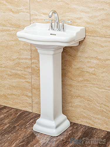 Fine Fixtures, Roosevelt White Pedestal Sink - Vitreous China Ceramic Material (4 Inch Faucet Spread hole) by Fine Fixtures