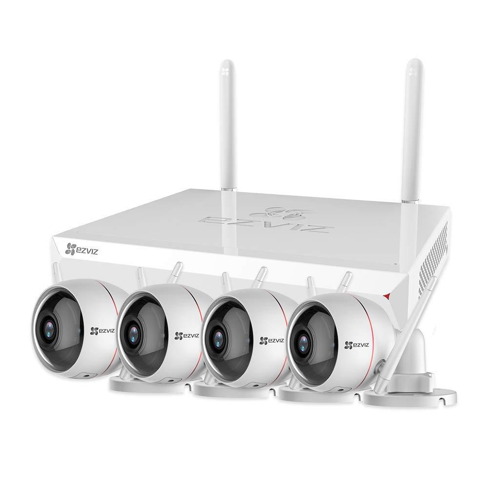 EZVIZ Outdoor Surveillance System 1080p Weatherproof Wi-Fi 2.4G Only 4 Security Cameras Strobe Light&Siren Night Vision DC Power Two Way Audio 4 Channel 1TB NVR X5C-4(4CH+4 Cam) by EZVIZ