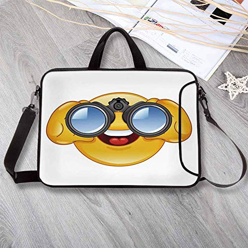 (Emoji Stylish Neoprene Laptop Bag,Smiley Face with a Telescope Binoculars Glasses Watching Outside Cartoon Print Laptop Bag for Business Casual or School,12.6