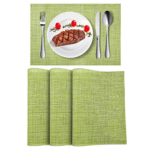 WLIFE Placemats, Heat-Resistant Placemats, Stain Resistant Washable PVC Table Mats, Cross Weave Non-Slip Vinyl Table Mats 18