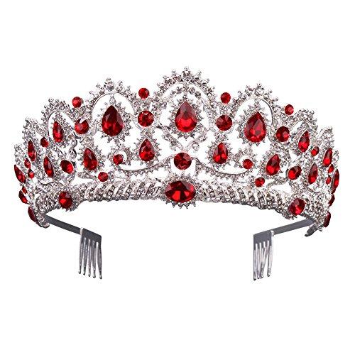 Gorgeous Silver Queen Crystal Crown Headband Rhinestone Wedding Princess Tiara Bridal Party Birthday Pageant Headpieces (Red)]()