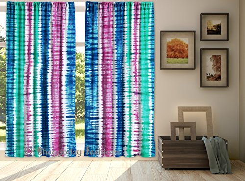 Indian Drape Handmade Tie Dye Shibori Marble Door Window Curtain Room Divider Valances Window Treatment Panel 2 Pcs Set 84 x 80 Inch By Shree Jinvaram