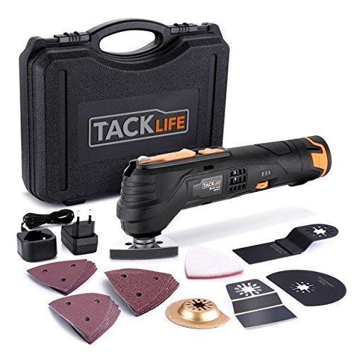 Multifunktionswerkzeug-Tacklife PMT01B Oszillierendes Werkzeug,6 Geschwindigkeiten und Schnellwechselfutter,12V, 2.0Ah Akku, LED-Licht und Koffer,zum Schleifen,Schneiden und Polieren,mit 24 Zubehö r PMT01B-DE