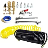 AIR COMPRESSOR ACCESSORY KIT Tool 25 Ft Recoil Hose Gun Nozzles Set 20 PIECES