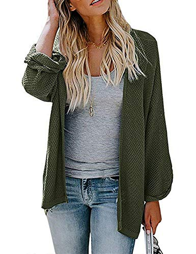 PARIS HILL Softome Womens Long Sleeve Cardigans Oversized Open Front Basic Casual Knit Sweaters Coat Army Green XX Large by PARIS HILL (Image #5)