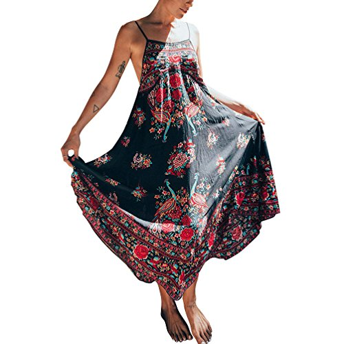 mangas Vestidos mujer verano maxi de Vestido Beach sin Sundresses Peacock Sling para Impreso Floral Arnés Negro hibote qPFxzw