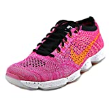 nike womens flyknit zoom agility running trainers 698616 sneakers shoes (US 8, pink power bright citrus black 602)