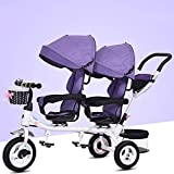 QXMEI Children's Twin Tricycle Children's Double Seat Bicycle Twin Baby Stroller 1-7 Years Old Baby With Awning,Pink