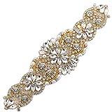 XINFANGXIU Rhinestones Applique, Crystal Applique with Pearls Beaded Embellishments for DIY Bridal Wedding Sash Belt Bodice Neckline Veil- Rose Gold