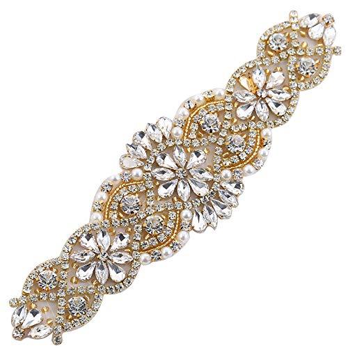 (2 piezas) Rhinestone Applique con Cristales y Perlas para el Vestido Headpieces Bolsas Cinturon para Vestido Novia, Cinturones Boda Oro-009