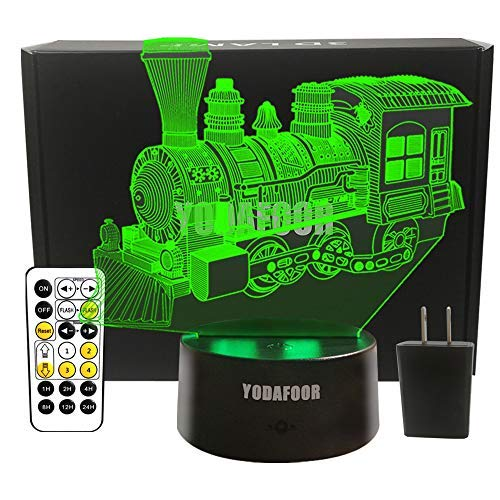 YODAFOOR Steam Train Night Lights for Kids Baby Teen 3D Illusion Lamp, Birthday Party Christmas Train Gifts Anniversary Present, Multi Color Remote Lamp Room Bedside Table Desk Nursery Decor Lighting]()